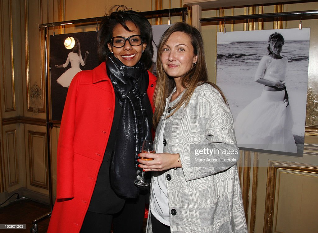 <a gi-track='captionPersonalityLinkClicked' href=/galleries/search?phrase=Delphine+Manivet+-+Fashion+Designer&family=editorial&specificpeople=13644542 ng-click='$event.stopPropagation()'>Delphine Manivet</a> (R) and Audrey Pulvar attend a private cocktail reception for the presentation of the <a gi-track='captionPersonalityLinkClicked' href=/galleries/search?phrase=Delphine+Manivet+-+Fashion+Designer&family=editorial&specificpeople=13644542 ng-click='$event.stopPropagation()'>Delphine Manivet</a> Collection during Paris Fashion Week Fall/Winter 2013 on February 28, 2013 in Paris, France.