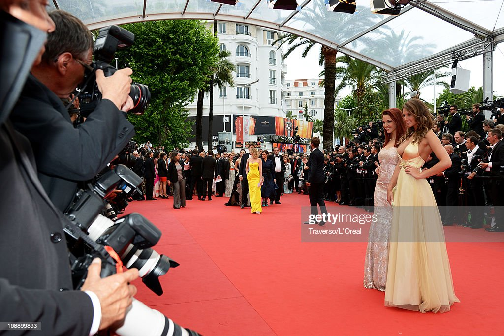 Delphine Wespiser and <a gi-track='captionPersonalityLinkClicked' href=/galleries/search?phrase=Laury+Thilleman&family=editorial&specificpeople=7372762 ng-click='$event.stopPropagation()'>Laury Thilleman</a> attends the 'Jeune & Jolie' premiere during The 66th Annual Cannes Film Festival at the Palais des Festivals on May 16, 2013 in Cannes, France.