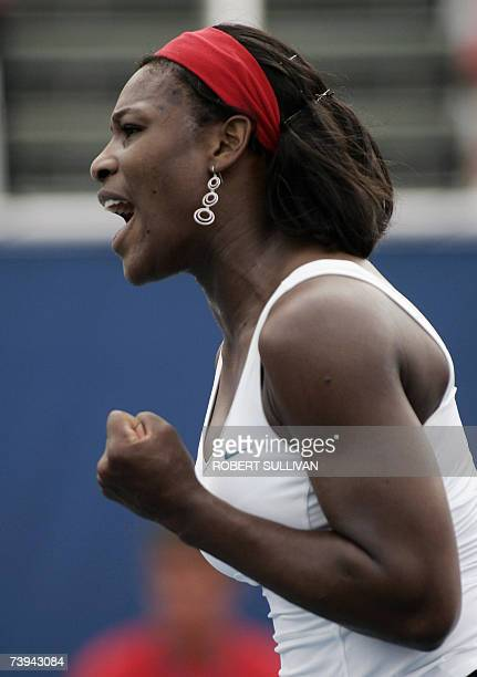 Serena Williams of the US celebrates her victory over Caroline Maes of Belgium 21 April 2007 during their Fed Cup World Group 2007 second round...