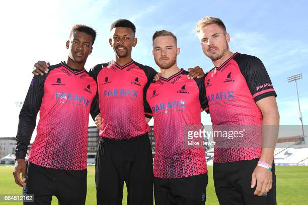 Delray Rawlins Abi Sakande Laurie Evans and Stiaan Van Zyl of Sussex pose for a photo during a Sussex CCC Photocall at The 1st Central County Ground...