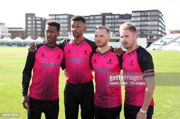 Delray Rawlins Abi Sakande Phil Salt and Stiaan van Zyl during the media day at 1st Central County Ground Hove