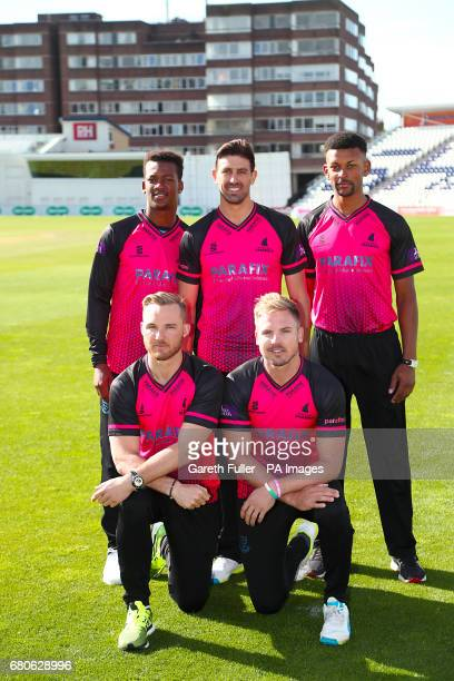 Delray Rawlins David Wiese and Abi Sakande Phil Salt and Stiaan van Zyl during the media day at 1st Central County Ground Hove