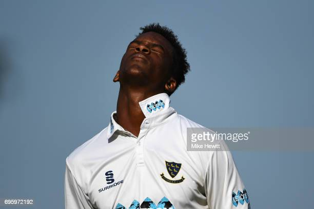 Delray Rawlins of Sussex can't hide his disappointment at being bowled for 96 during a Tour Match between Sussex and South Africa A at Arundel Castle...