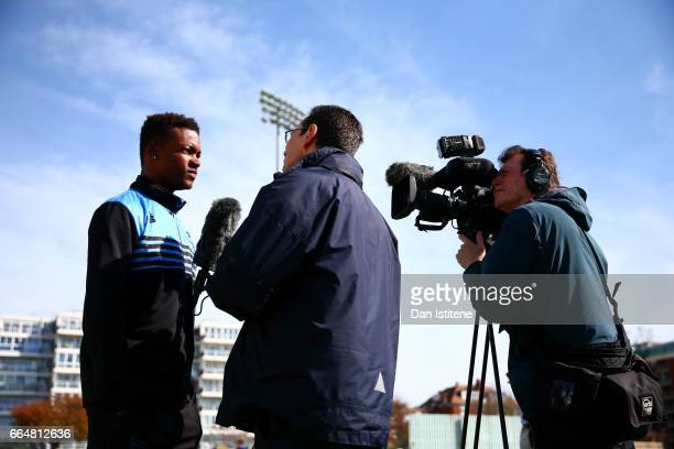 Delray Rawlins of Sussex CCC speaks with members of the media during the Sussex CCC photcall at The 1st Central County Ground on April 5 2017 in Hove...