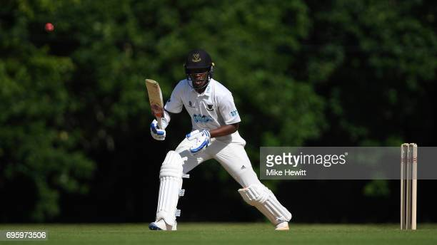 Delray Rawlins of Sussex hits out during a Tour Match between Sussex and South Africa A at Arundel Castle on June 14 2017 in Arundel England