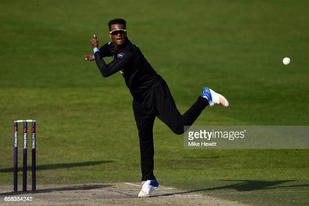 Delray Rawlins of Sussex in action during a pre season friendly between Sussex and Somerset at The 1st Central County Ground on March 27 2017 in Hove...