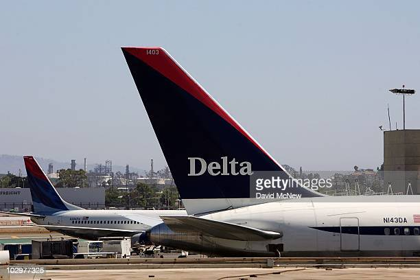Delta Air Lines emerges from bankruptcy and turns a profit after shaving billions of dollars in costs on July 18 2007 in Los Angeles California Delta...