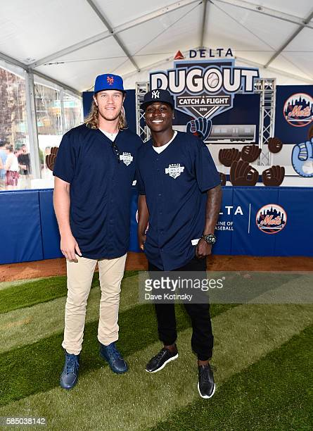 Delta Air Lines New York Mets Pitcher Noah Syndergaard And New York Yankees Shortstop Didi Gregorius Welcome Fans In Flatiron Plaza As Part Of...