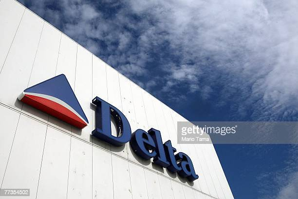 Delta Air Lines sign is seen at LaGuardia International Airport October 16 2007 in New York City Delta's profit rose to $220 million compared with...