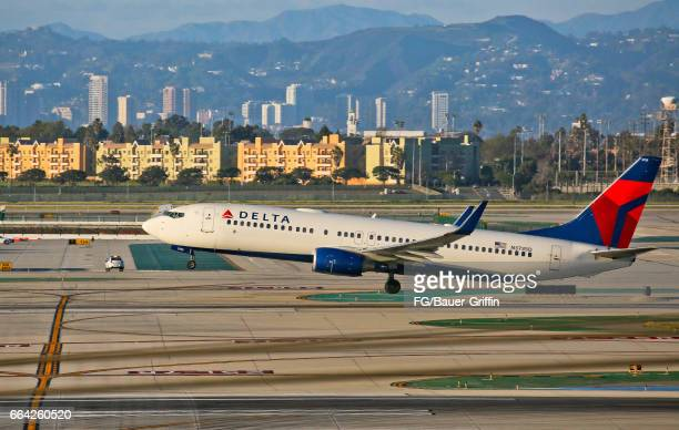 Delta Airlines Boeing 737 taking off from LAX on February 06 2017 in Los Angeles California