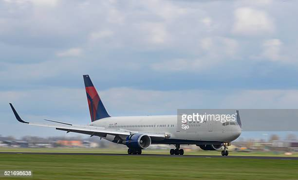 Delta Airlines Boeing 767 airplane landing