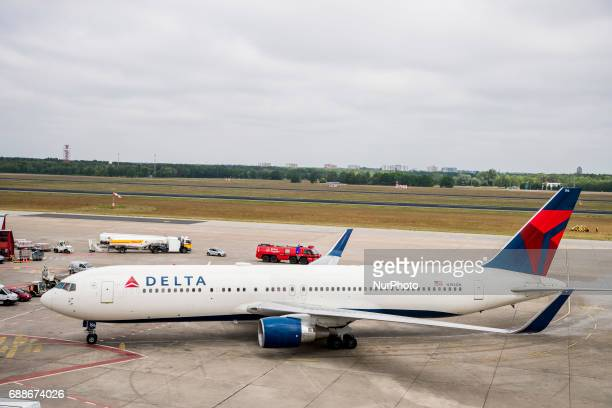 A Delta Airlines flight of a new direct route from New York lands at Tegel airport in Berlin Germany on May 26 2017