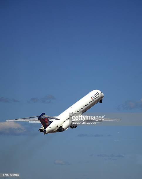 Delta Airlines passenger aircraft takes off from LaGuardia Airport in New York City New York