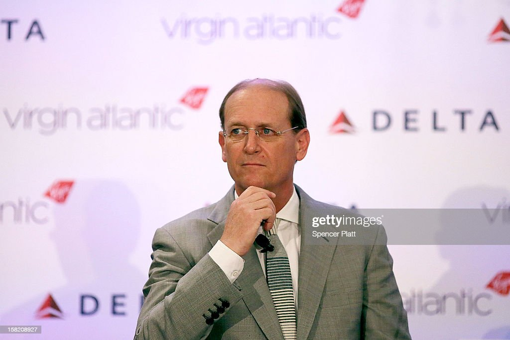 Delta Chief Executive Richard Anderson speaks at a news conference where it was announced that Delta Air Lines is buying a 49 percent stake in Richard Branson's Virgin Atlantic Airways Ltd. from Singapore Airlines for $360 million on December 11, 2012 in New York City. The airlines will begin a joint venture on 31 roundtrip daily flights between North America and Heathrow Airport, one of the world's busiest hubs.