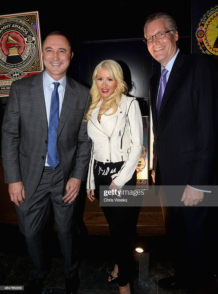 Delta executive Glen Hauenstein, singer Christina Aguilera and Delta executive Ed Bastian join Delta Air Lines in toasting 2014 GRAMMY Weekend with private reception and performance from Lorde, four-time 2014 GRAMMY award nominee in West Hollywood, CA on January 23rd 2014