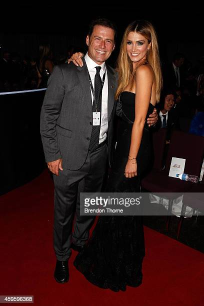 Delta Goodrem and Karl Stefanovic attend the 28th Annual ARIA Awards 2014 at the Star on November 26 2014 in Sydney Australia