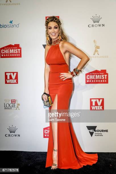 Delta Goodrem arrives at the 59th Annual Logie Awards at Crown Palladium on April 23 2017 in Melbourne Australia