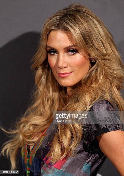 Delta Goodrem arrives at the David Jones Autumn/Winter 2012 season launch at the David Jones Elizabeth Street Store on February 15 2012 in Sydney...