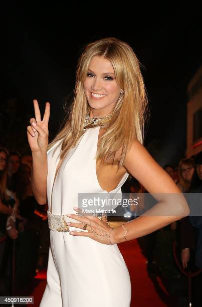 Delta Goodrem arrives at The Voice Australia Coldplay cocktail event at Fox Studios on June 20 2014 in Sydney Australia