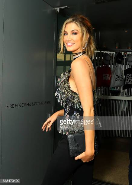Delta Goodrem heads to dinner with the Australian Voice judges on February 17 2017 in Sydney Australia