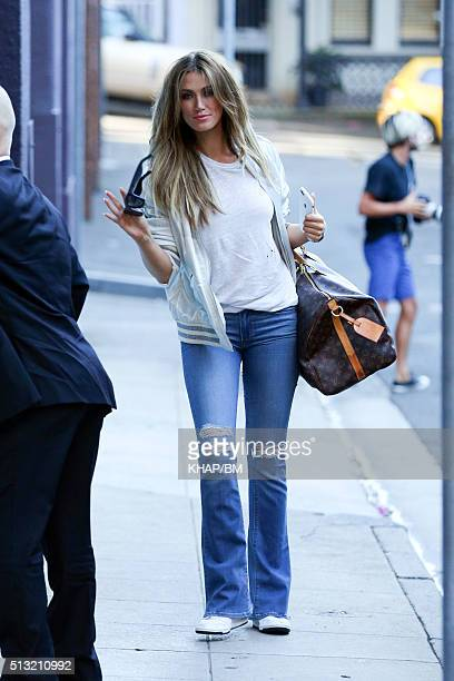Delta Goodrem is seen leaving Sun Studio after filming The Voice on March 1 2016 in Sydney Australia