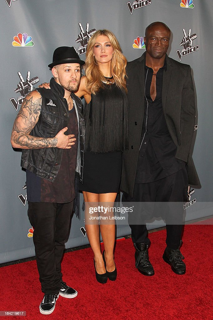Delta Goodrem, Joel Madden and Seal attend the NBC's 'The Voice' Season 4 Premiere at TCL Chinese Theatre on March 20, 2013 in Hollywood, California.