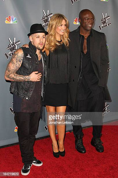 Delta Goodrem Joel Madden and Seal attend the NBC's 'The Voice' Season 4 Premiere at TCL Chinese Theatre on March 20 2013 in Hollywood California