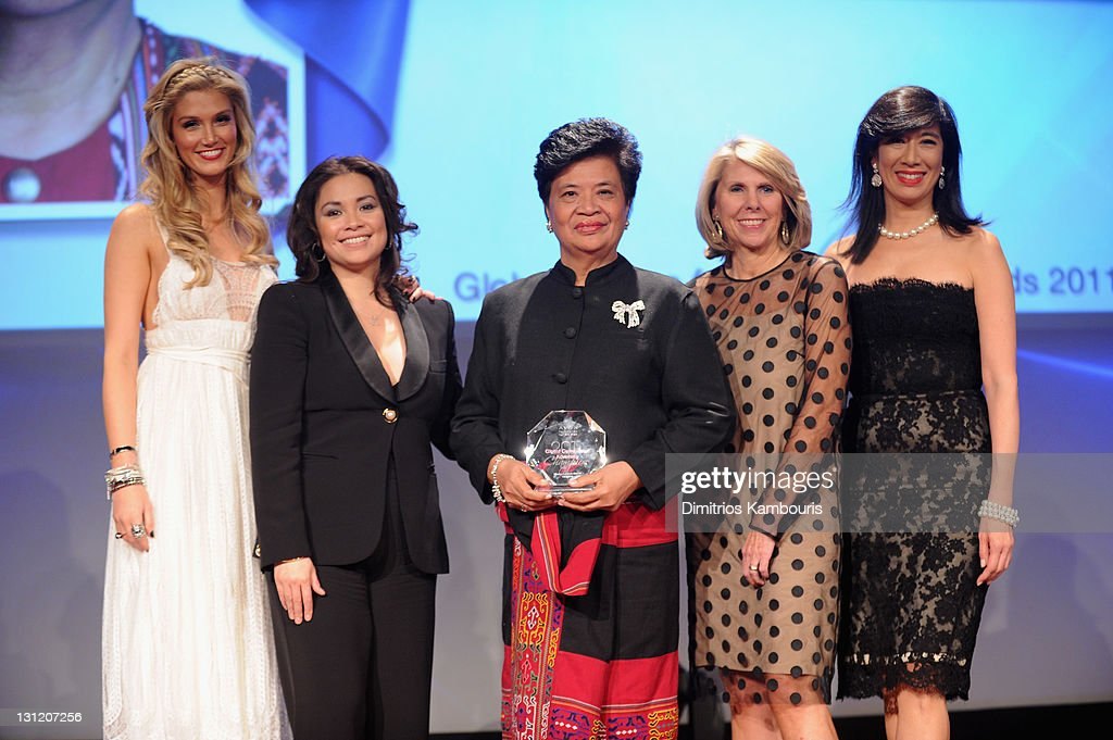 Delta Goodrem, Lea Salonga, Theresa Balayon, executive officer, the Philippines' Women's Crisis Center, Avon Foundation President Carol Kurzig and Avon Chairman & CEO Andrea Jung attend the celebration of Avon's 125th Anniversary at the Avon Foundation Global Voices for Change Gala at Marriott Marquis Times Square on November 2, 2011 in New York City.