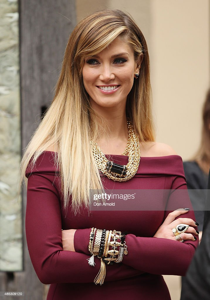Delta Goodrem looks on during the Voice top four live pop up show at Museum of Sydney on August 27 2015 in Sydney Australia