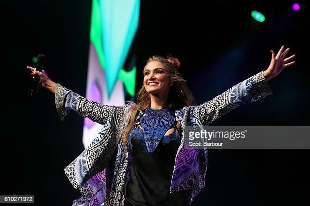 Delta Goodrem performs during the Nickelodeon Slimefest 2016 matinee show at Margaret Court Arena on September 25 2016 in Melbourne Australia