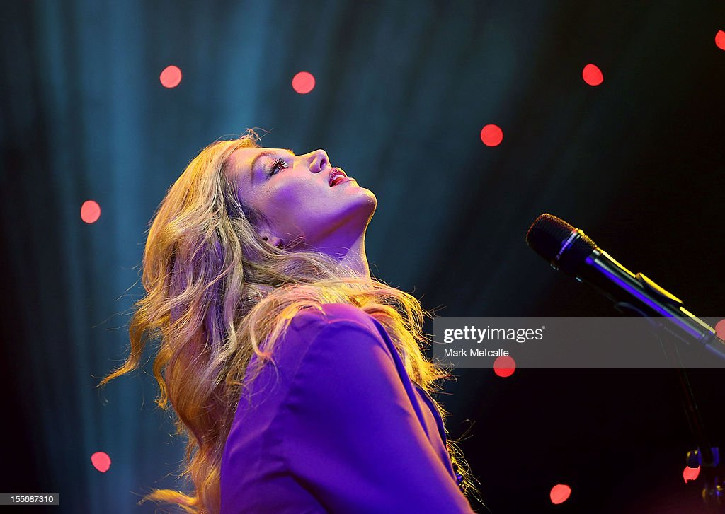 <a gi-track='captionPersonalityLinkClicked' href=/galleries/search?phrase=Delta+Goodrem&family=editorial&specificpeople=201895 ng-click='$event.stopPropagation()'>Delta Goodrem</a> performs during the VRC Oaks Club Luncheon at Crown Palladium on November 7, 2012 in Melbourne, Australia.