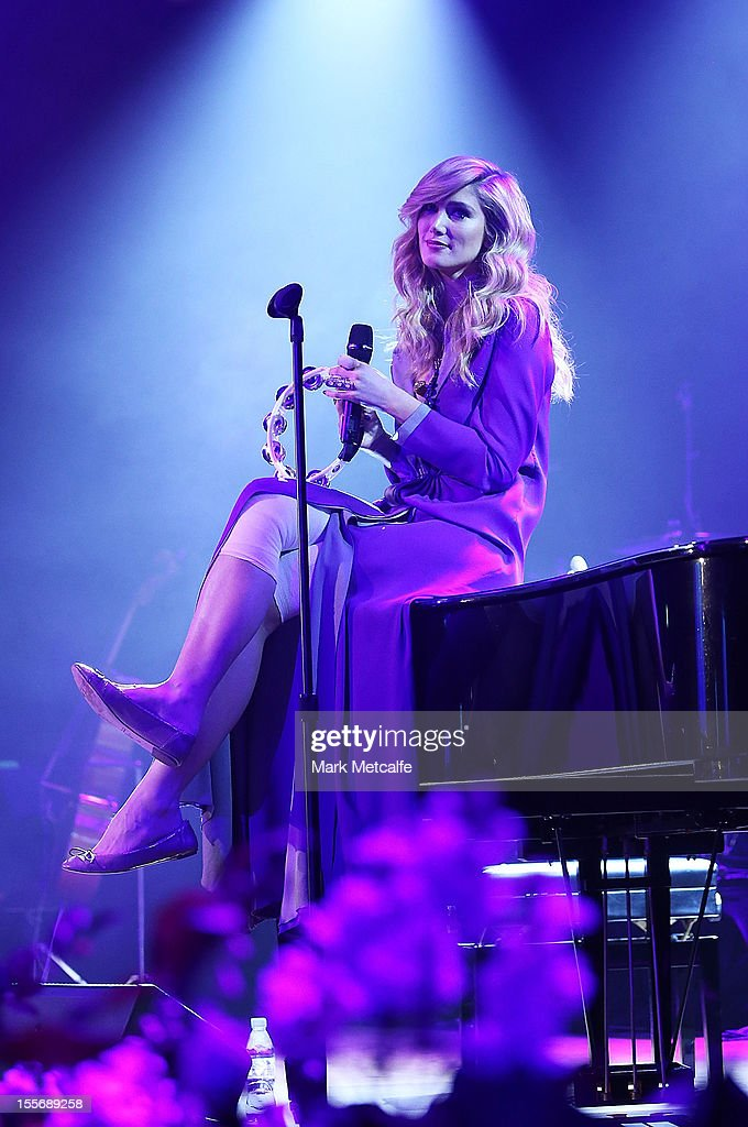 Delta Goodrem performs during the VRC Oaks Club Luncheon at Crown Palladium on November 7, 2012 in Melbourne, Australia.