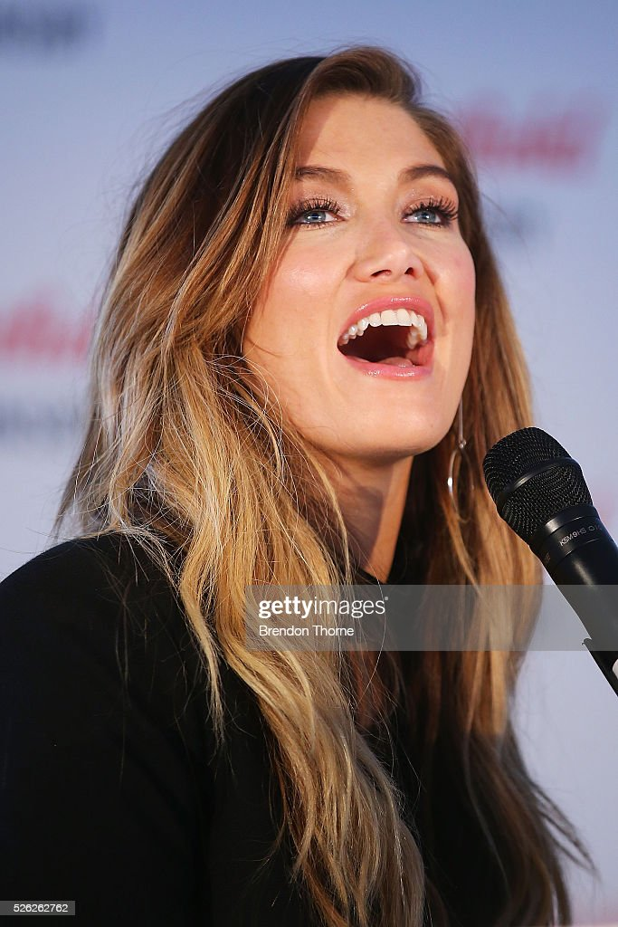 Delta Goodrem performs her new single 'Dear Life' at Westfield Hornsby on April 30, 2016 in Sydney, Australia.