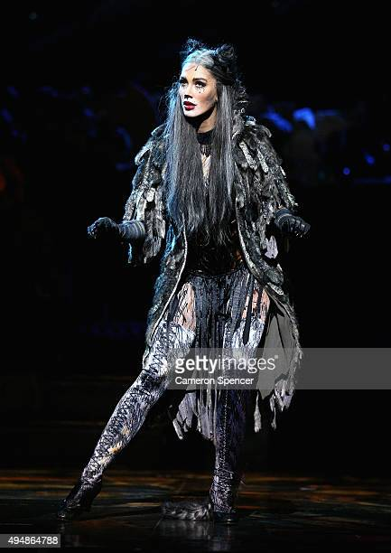 Delta Goodrem performs 'Memory' in the role of 'Grizabella' during a media call for CATS at Capitol Theatre on October 30 2015 in Sydney Australia