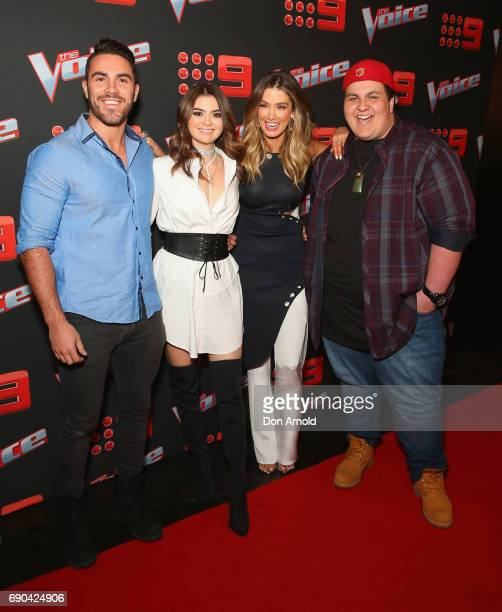 Delta Goodrem poses alongside her team comprising Tim Conlon Claire Howell and Judah Kelly during the Voice Live Show Launch 2017 on May 31 2017 in...