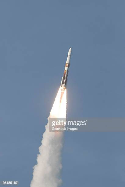 A Delta IV rocket roars into the sky with the GOES-O satellite aboard.