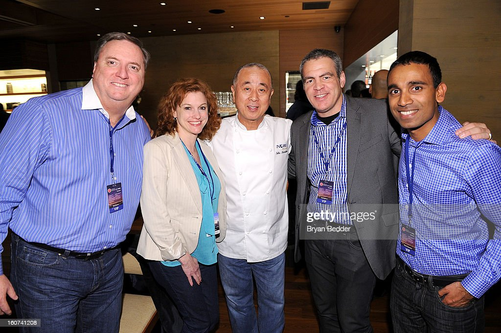Delta VP Global Sales Bob Somers, Delta Social Media Manager Rachael Rensink, Chef Nobuyuki Matsuhisa, Delta VP of Marketing and Digital Commerce Bob Kupbens, and Delta Managing Director National Sales Ranjan Goswami attend Chef Nobuyuki Matsuhisa hosts a private dinner at Nobu Malibu to celebrate Delta Air Lines' Nonstop NYC challenge on Feb. 4, 2013 in Los Angeles, California.