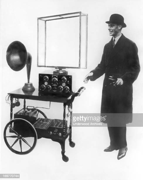 A deluxe radio receiving set that was given to the Duke Duchess of York as a wedding present London England 1923 It consists of a portable receiver...