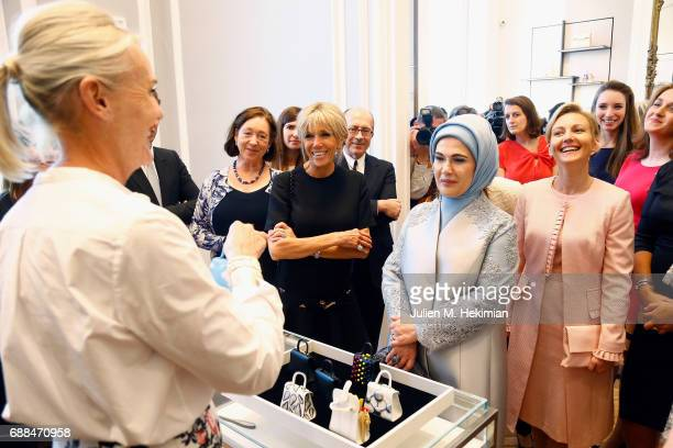 Delvaux Artistic Director Mrs Christina Zeller Norvegian Ambassador in Brussels Mrs Ingrid Schulerud French First Lady Mrs Brigitte Macron Mrs Emine...