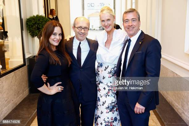 Delvaux President Jean Marc Loubier his wife Hedieh Loubier Delvaux CEO Marco Probst and Delvaux Artistic Director Christina Zeller are pictured...