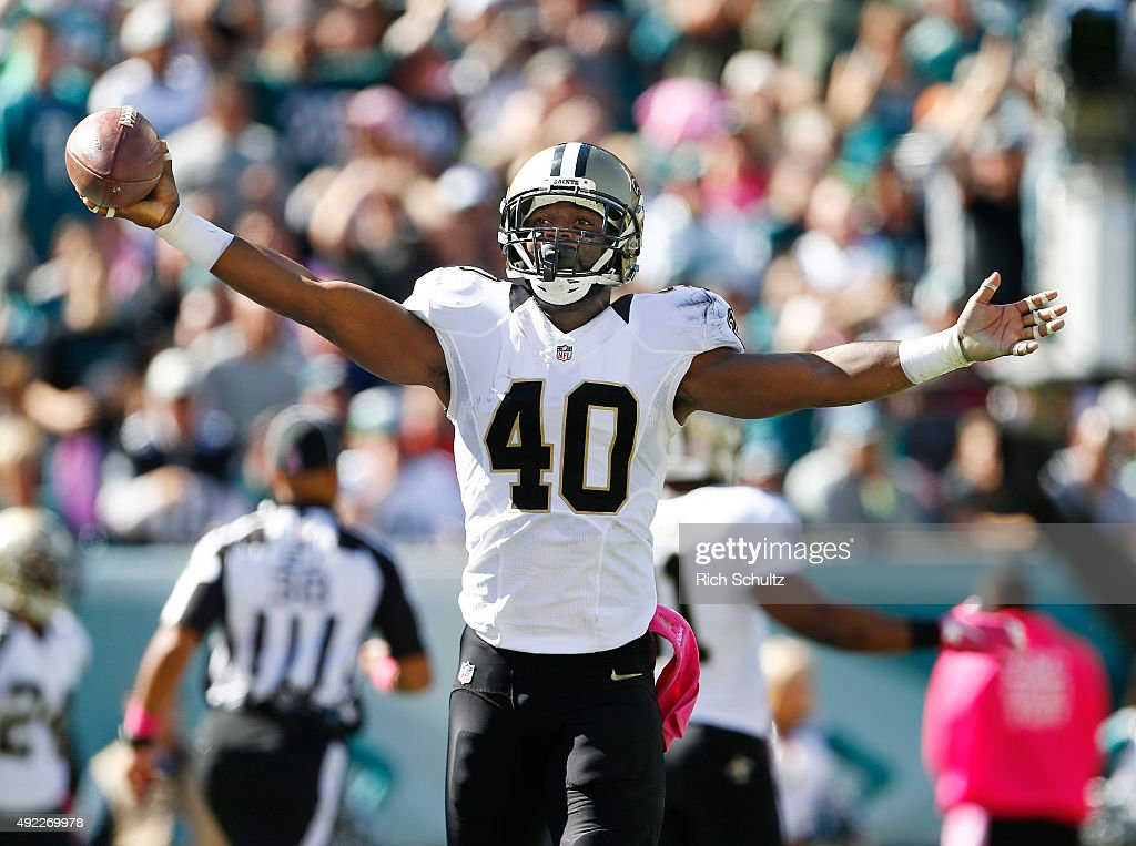 Delvin Breaux of the New Orleans Saints reacts after making an interception in the end zone during the second quarter against the Philadelphia Eagles...