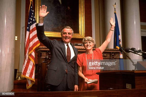 Dem pres cand exVP Walter Mondale introducing his running mate Rep Geraldine Ferraro before the Dem convention