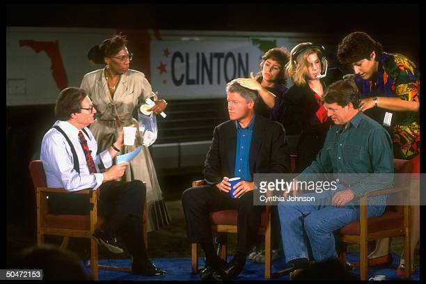Dem presidential cand Bill Clinton running mate Al Gore getting hair touch up before appearance on talk show host Larry King's CNN cable TV show...