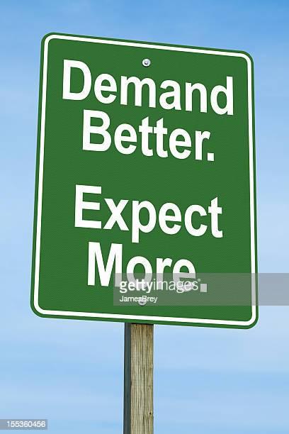 Nachfrage besser, mehr erwarten Road Sign