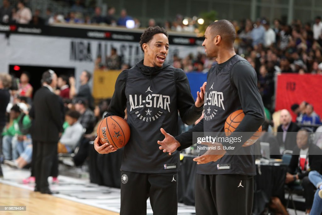 DeMar DeRozan #10 and Al Horford #42 of Team Stephen participate in the NBA All-Star practice as part of the 2018 NBA All-Star Weekend on February 17, 2018 at the Verizon Up Arena at the LACC in Los Angeles, California.