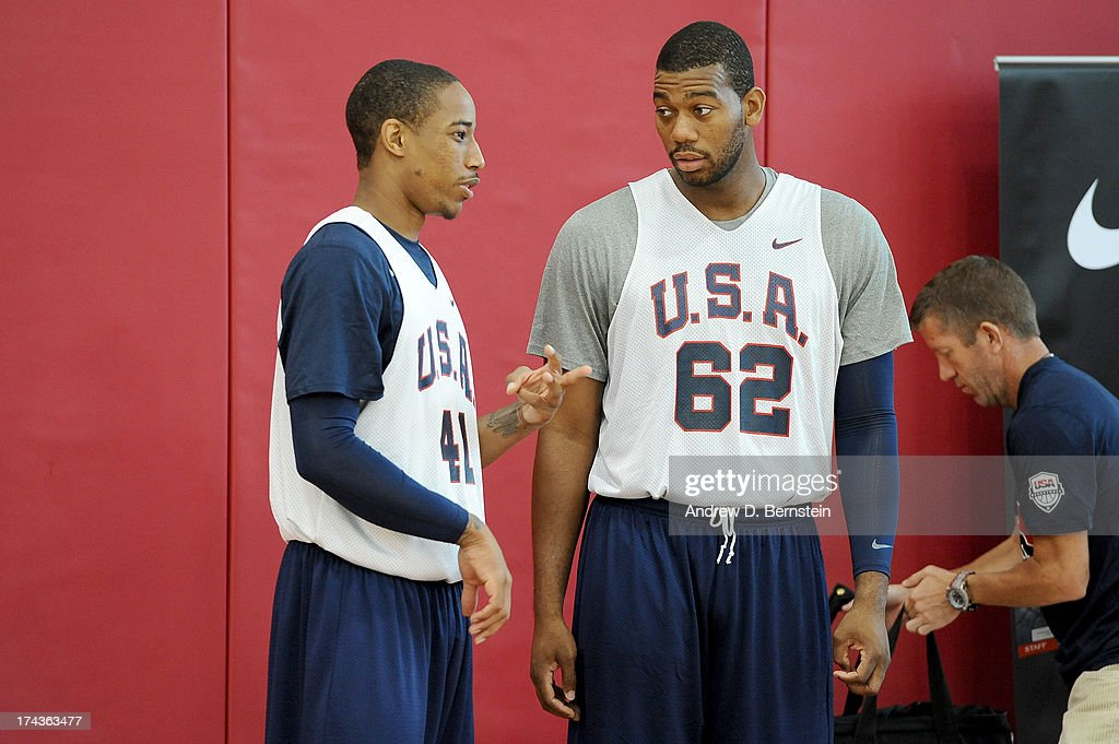 DeMar DeRozan #41 and Greg Monroe #62 of the USA Basketball Men's National Team talk during practice at Training Camp at the Mendenhall Center on July 24, 2013, in Las Vegas, Nevada.