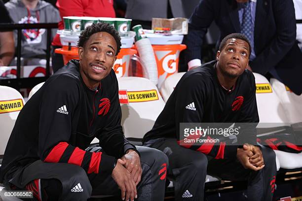 DeMar DeRozan and Kyle Lowry of the Toronto Raptors are seen before the game against the Portland Trail Blazers on December 26 2016 at the Moda...
