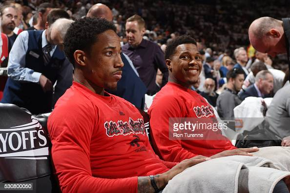 DeMar DeRozan and Kyle Lowry of the Toronto Raptors before facing the Miami Heat for Game Five of the Eastern Conference Semifinals during the 2016...