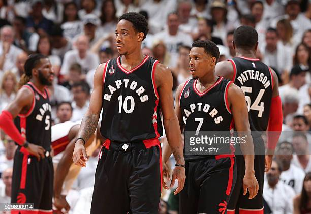 DeMar DeRozan and Kyle Lowry of the Toronto Raptors during the game against the Miami Heat in Game Three of the Eastern Conference Semifinals during...