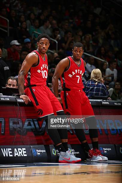 DeMar DeRozan and Kyle Lowry of the Toronto Raptors look on during a preseason game against the Washington Wizards on October 21 2016 at Verizon...
